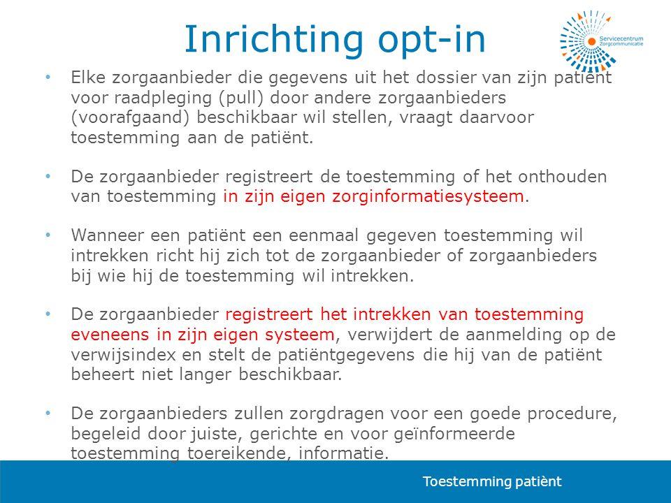 Inrichting opt-in • Elke zorgaanbieder die gegevens uit het dossier van zijn patiënt voor raadpleging (pull) door andere zorgaanbieders (voorafgaand)