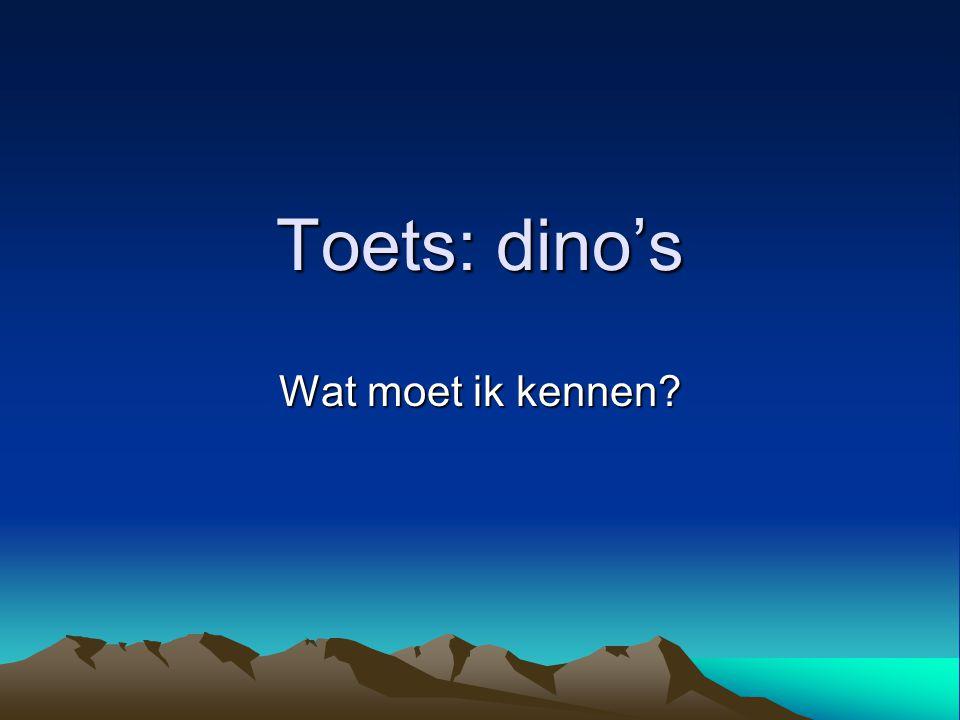 Toets: dino's Wat moet ik kennen?