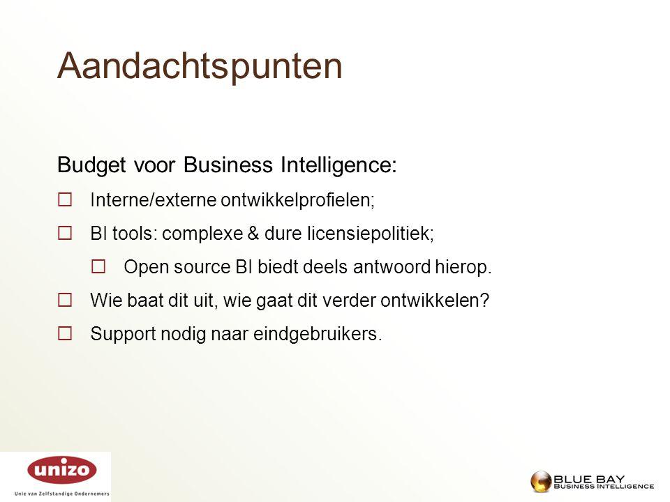 Budget voor Business Intelligence:  Interne/externe ontwikkelprofielen;  BI tools: complexe & dure licensiepolitiek;  Open source BI biedt deels an