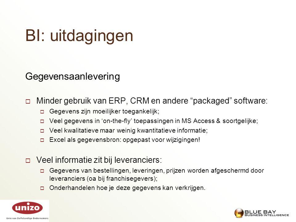 """Gegevensaanlevering  Minder gebruik van ERP, CRM en andere """"packaged"""" software:  Gegevens zijn moeilijker toegankelijk;  Veel gegevens in 'on-the-f"""