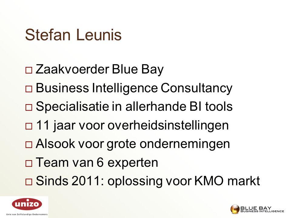 Stefan Leunis  Zaakvoerder Blue Bay  Business Intelligence Consultancy  Specialisatie in allerhande BI tools  11 jaar voor overheidsinstellingen 