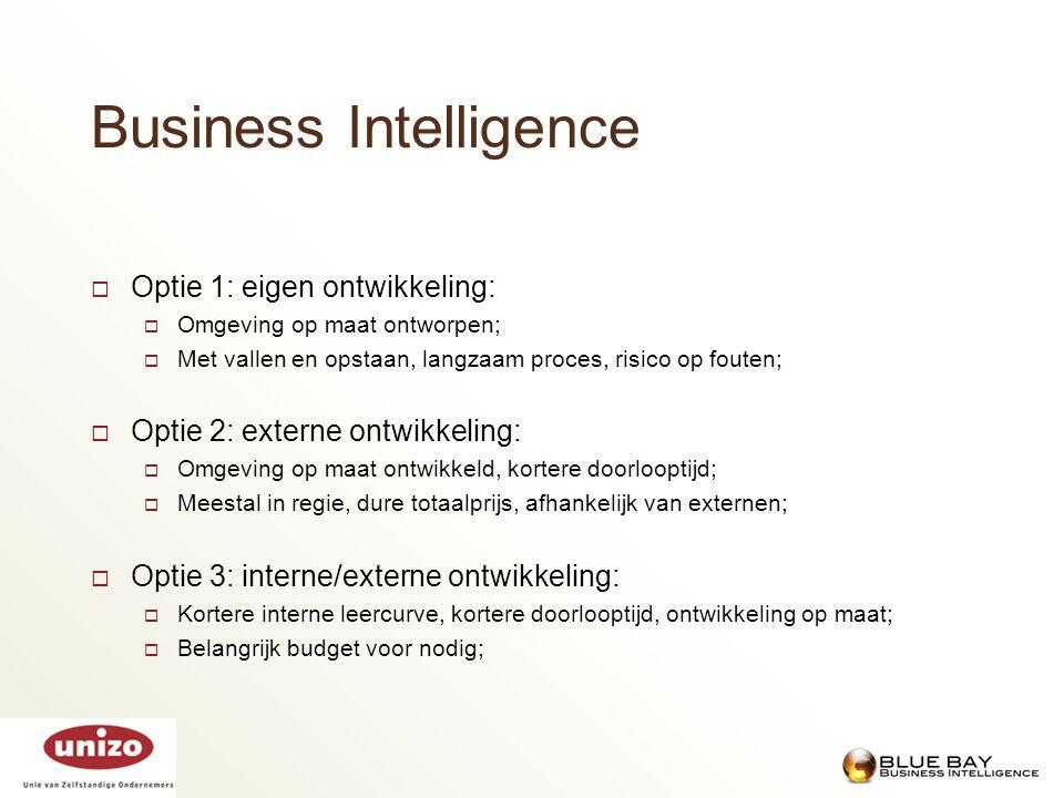 Business Intelligence  Optie 1: eigen ontwikkeling:  Omgeving op maat ontworpen;  Met vallen en opstaan, langzaam proces, risico op fouten;  Optie