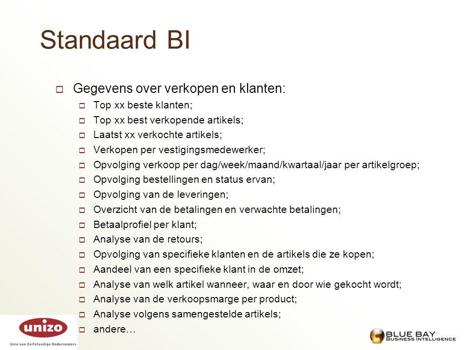 Standaard BI  Gegevens over verkopen en klanten:  Top xx beste klanten;  Top xx best verkopende artikels;  Laatst xx verkochte artikels;  Verkope