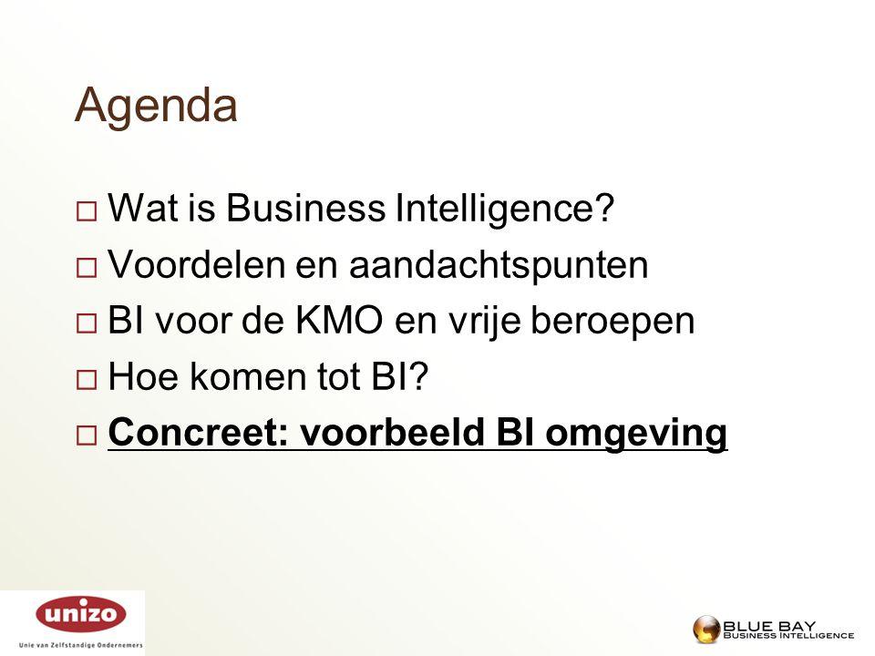 Agenda  Wat is Business Intelligence?  Voordelen en aandachtspunten  BI voor de KMO en vrije beroepen  Hoe komen tot BI?  Concreet: voorbeeld BI