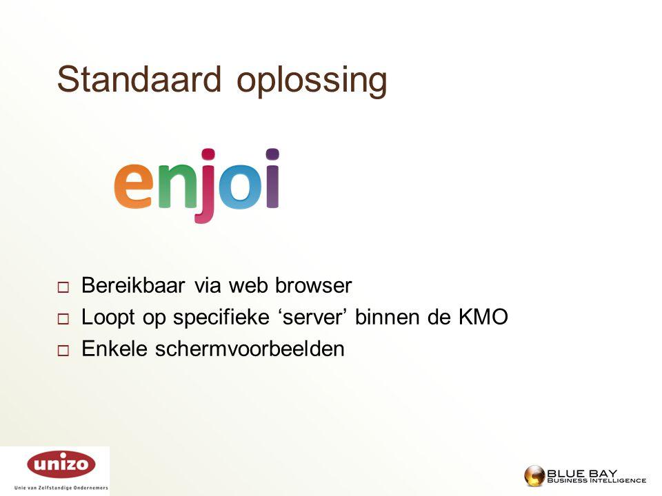 Standaard oplossing  Bereikbaar via web browser  Loopt op specifieke 'server' binnen de KMO  Enkele schermvoorbeelden