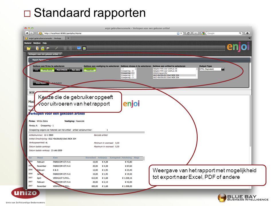  Standaard rapporten Keuze die de gebruiker opgeeft voor uitvoeren van het rapport Weergave van het rapport met mogelijkheid tot export naar Excel, P