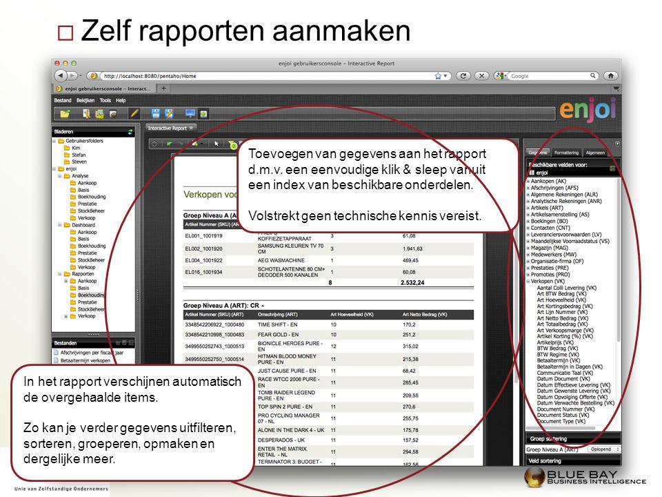  Zelf rapporten aanmaken Toevoegen van gegevens aan het rapport d.m.v. een eenvoudige klik & sleep vanuit een index van beschikbare onderdelen. Volst