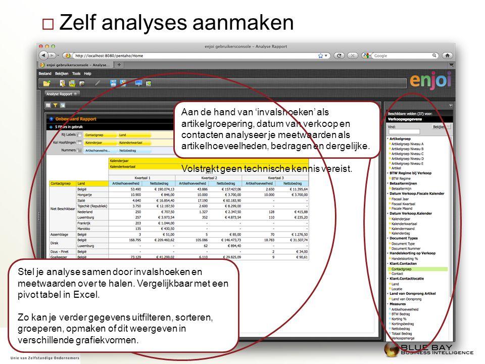  Zelf analyses aanmaken Aan de hand van 'invalshoeken' als artikelgroepering, datum van verkoop en contacten analyseer je meetwaarden als artikelhoev