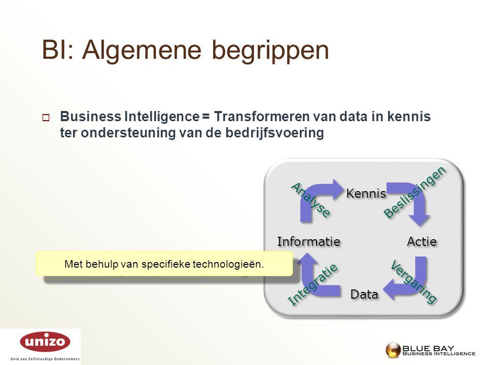 BI: Algemene begrippen  Business Intelligence = Transformeren van data in kennis ter ondersteuning van de bedrijfsvoering Met behulp van specifieke t