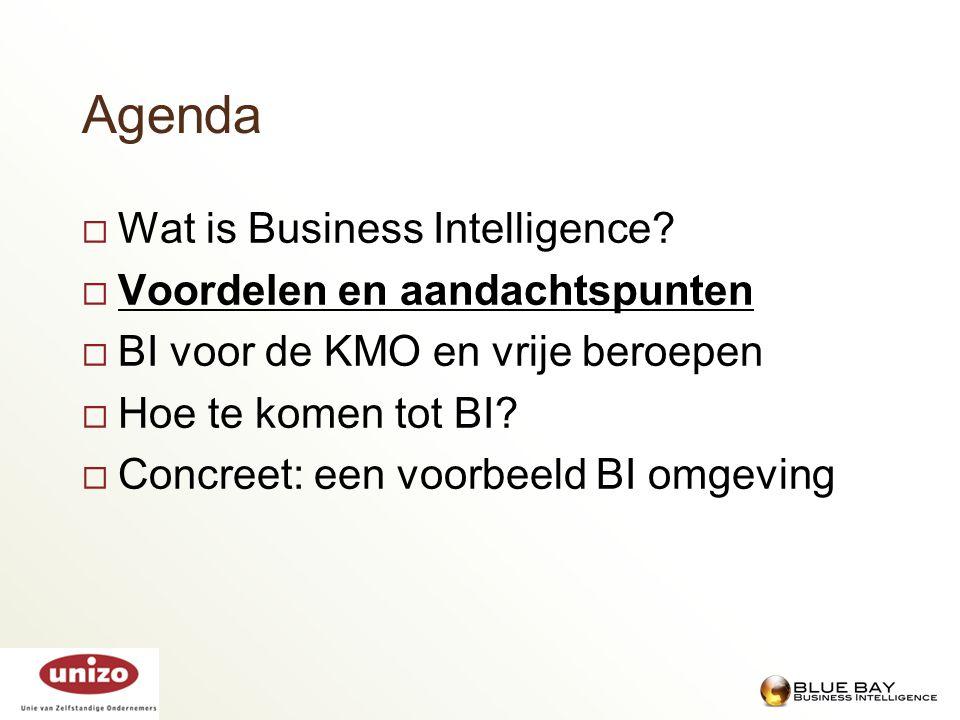 Agenda  Wat is Business Intelligence?  Voordelen en aandachtspunten  BI voor de KMO en vrije beroepen  Hoe te komen tot BI?  Concreet: een voorbe
