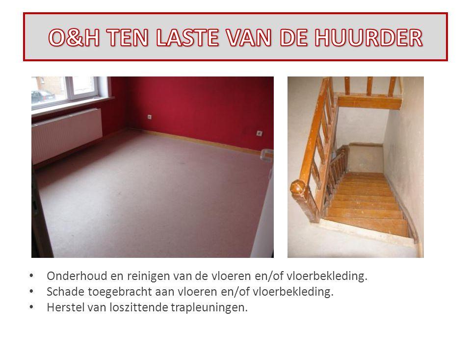• Onderhoud en reinigen van de vloeren en/of vloerbekleding. • Schade toegebracht aan vloeren en/of vloerbekleding. • Herstel van loszittende trapleun