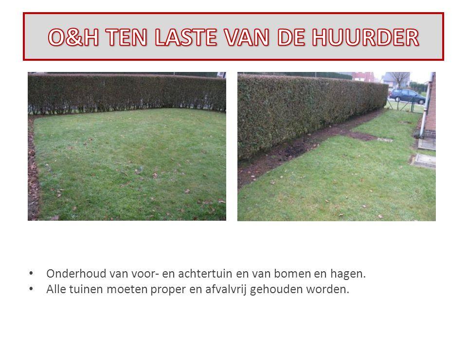 • Onderhoud van voor- en achtertuin en van bomen en hagen. • Alle tuinen moeten proper en afvalvrij gehouden worden.