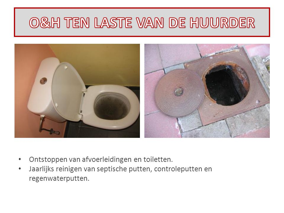 • Ontstoppen van afvoerleidingen en toiletten. • Jaarlijks reinigen van septische putten, controleputten en regenwaterputten.