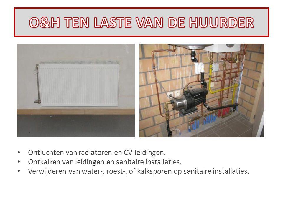 • Ontluchten van radiatoren en CV-leidingen. • Ontkalken van leidingen en sanitaire installaties. • Verwijderen van water-, roest-, of kalksporen op s