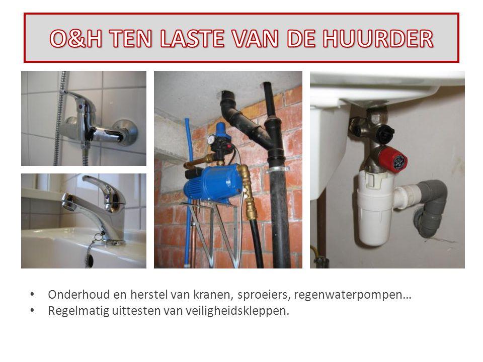 • Onderhoud en herstel van kranen, sproeiers, regenwaterpompen… • Regelmatig uittesten van veiligheidskleppen.