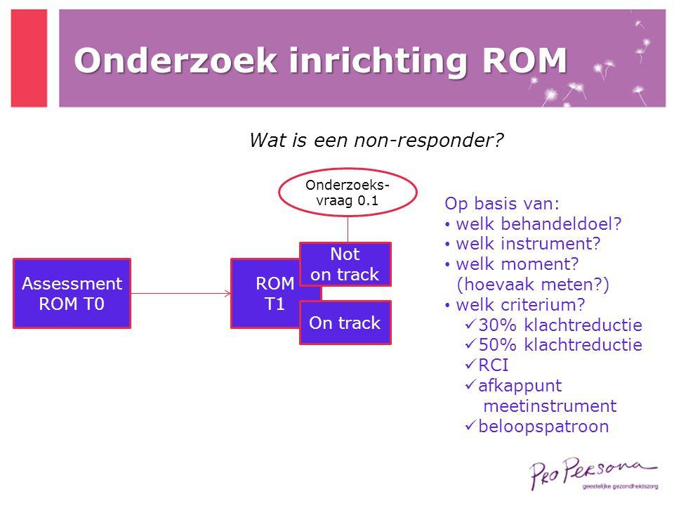 Assessment ROM T0 ROM T1 On track Not on track Onderzoeks- vraag 0.1 Onderzoek inrichting ROM Wat is een non-responder? Op basis van: • welk behandeld