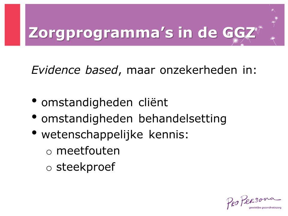 Zorgprogramma's in de GGZ Evidence based, maar onzekerheden in: • omstandigheden cliënt • omstandigheden behandelsetting • wetenschappelijke kennis: o