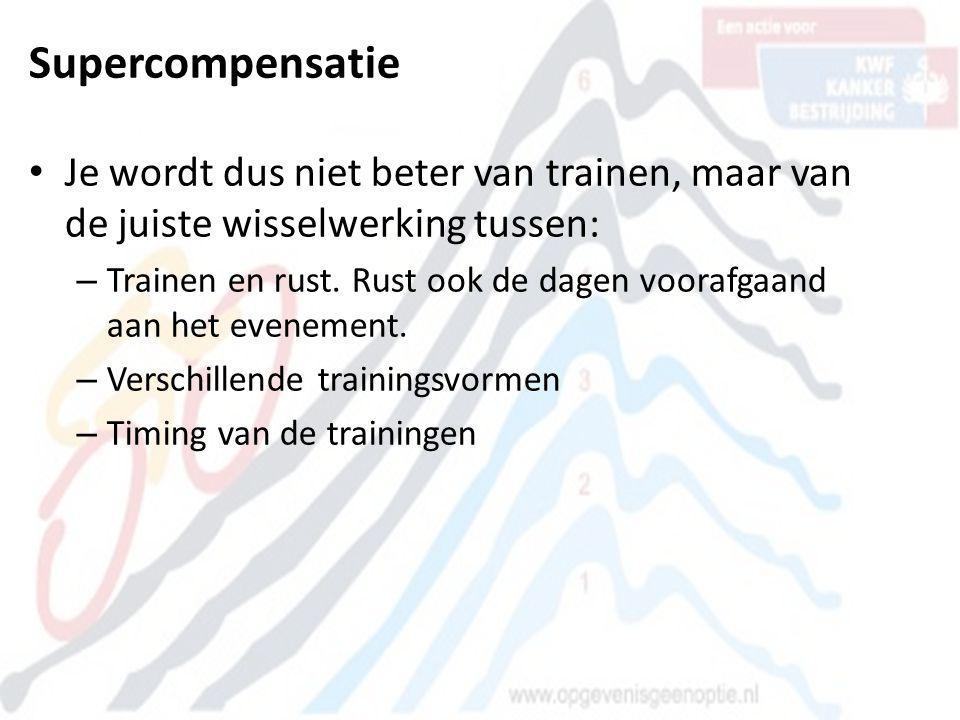 Supercompensatie • Je wordt dus niet beter van trainen, maar van de juiste wisselwerking tussen: – Trainen en rust. Rust ook de dagen voorafgaand aan