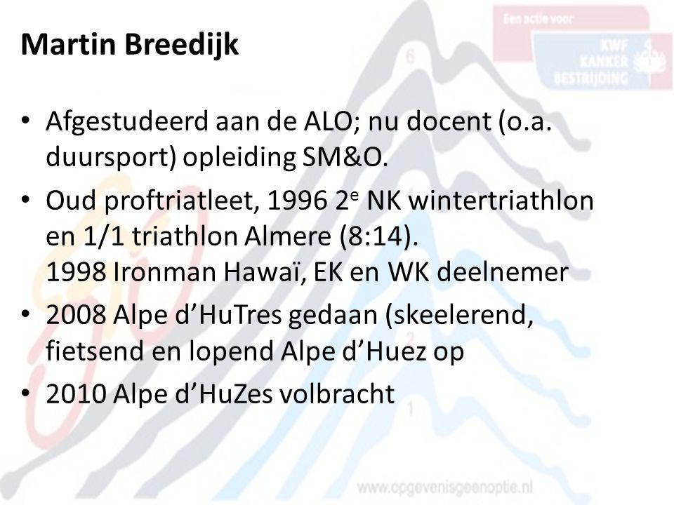 Martin Breedijk • Afgestudeerd aan de ALO; nu docent (o.a. duursport) opleiding SM&O. • Oud proftriatleet, 1996 2 e NK wintertriathlon en 1/1 triathlo