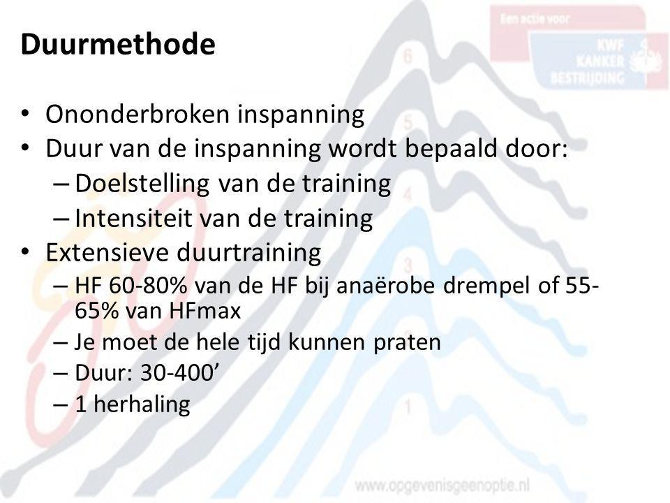 Duurmethode • Ononderbroken inspanning • Duur van de inspanning wordt bepaald door: – Doelstelling van de training – Intensiteit van de training • Ext