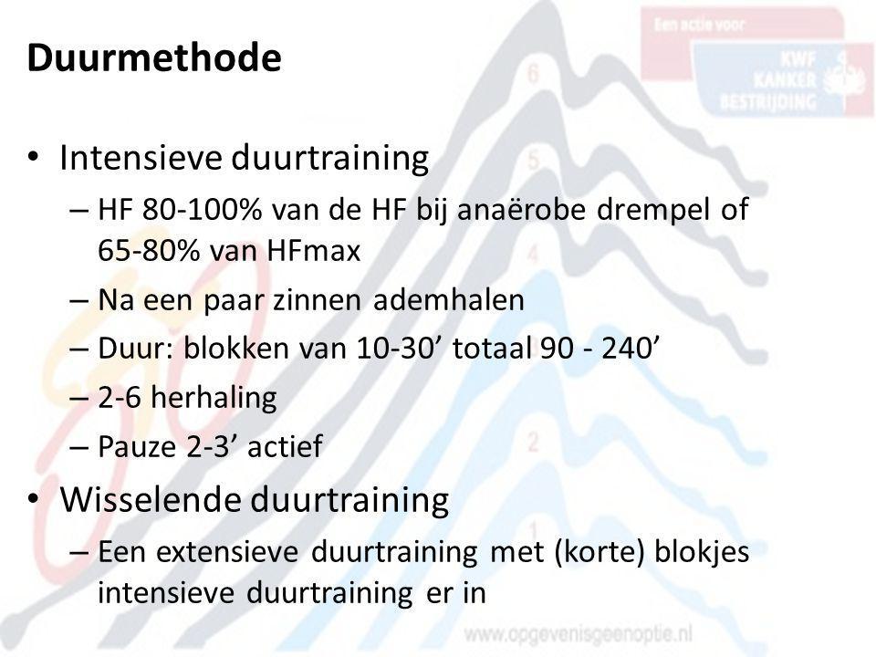 Duurmethode • Intensieve duurtraining – HF 80-100% van de HF bij anaërobe drempel of 65-80% van HFmax – Na een paar zinnen ademhalen – Duur: blokken v