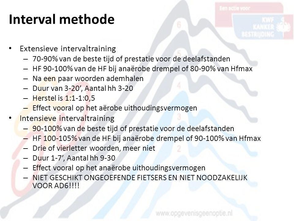 Interval methode • Extensieve intervaltraining – 70-90% van de beste tijd of prestatie voor de deelafstanden – HF 90-100% van de HF bij anaërobe dremp