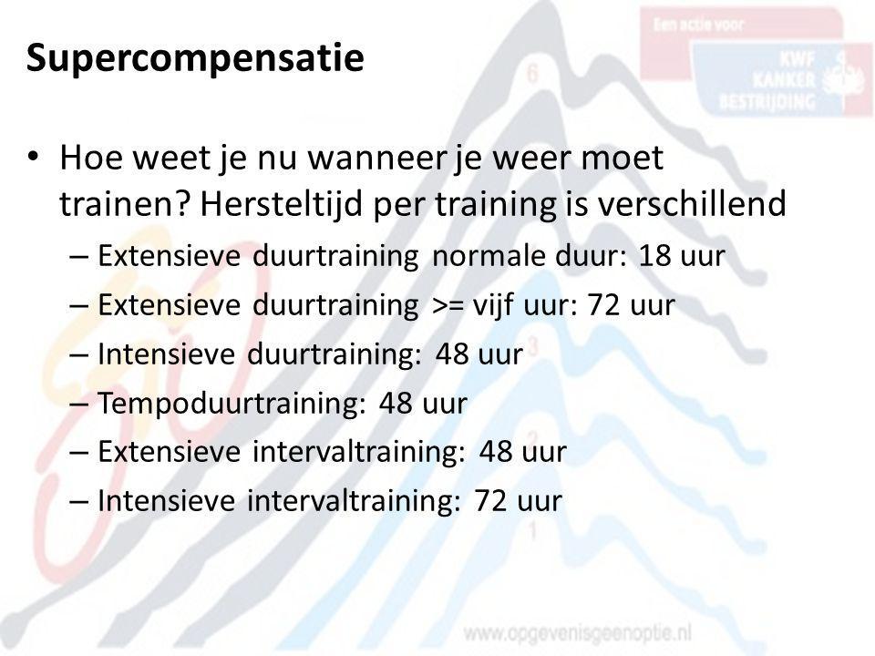 Supercompensatie • Hoe weet je nu wanneer je weer moet trainen? Hersteltijd per training is verschillend – Extensieve duurtraining normale duur: 18 uu