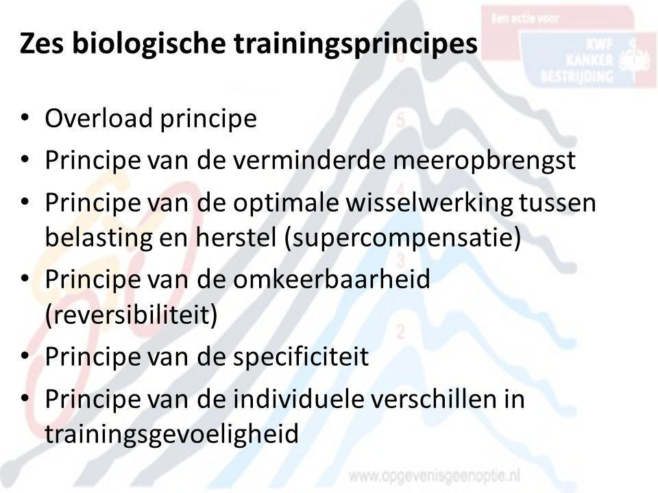 Zes biologische trainingsprincipes • Overload principe • Principe van de verminderde meeropbrengst • Principe van de optimale wisselwerking tussen bel