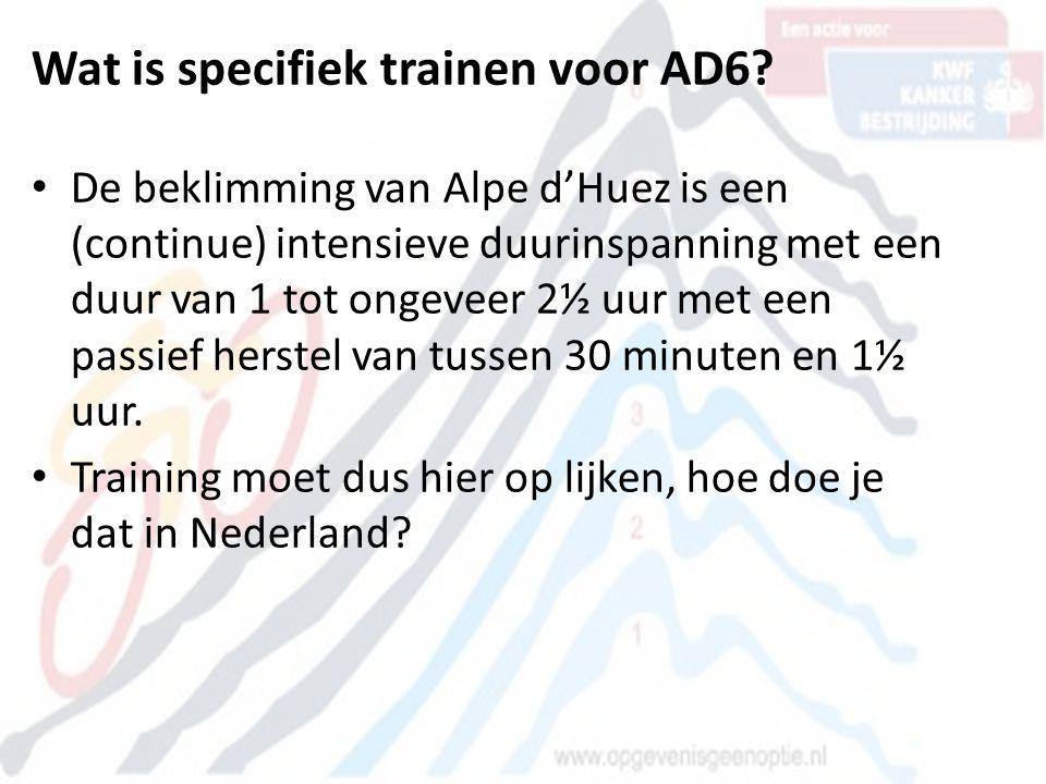 Wat is specifiek trainen voor AD6? • De beklimming van Alpe d'Huez is een (continue) intensieve duurinspanning met een duur van 1 tot ongeveer 2½ uur