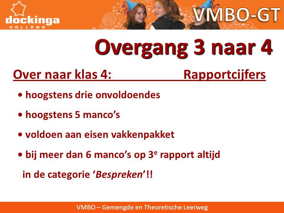 VMBO – Gemengde en Theoretische Leerweg Cijfers Overgang 3 naar 4 • Cijfers die alleen meetellen voor rapporten • Cijfers die meetellen voor PTA èn ra