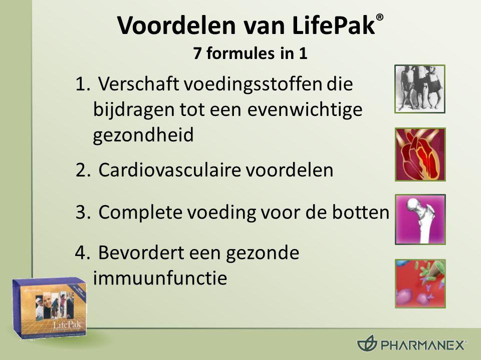 6.Beschermt uw lichaam tegen de symptomen van veroudering 5.Ondersteunt een normale bloedsuikerstofwisseling 7.Verbetert uw antioxidatieve afweersysteem (vervolg) Voordelen van LifePak ® 7 formules in 1