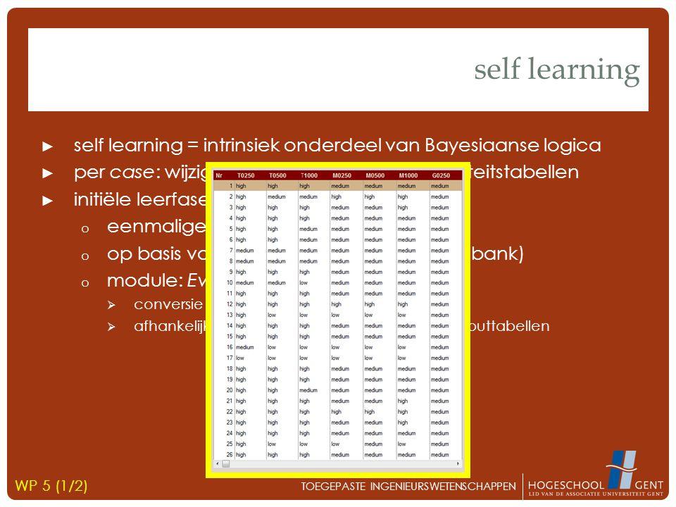 ► self learning = intrinsiek onderdeel van Bayesiaanse logica ► per case: wijziging onderliggende probabiliteitstabellen ► initiële leerfase o eenmalige bulk-input o op basis van historische data (FOX-databank) o module: Evidence Cases Generator  conversie naar juiste netwerkformaat  afhankelijk van vrij te kiezen instellingen  outputtabellen self learning TOEGEPASTE INGENIEURSWETENSCHAPPEN WP 5 (1/2)