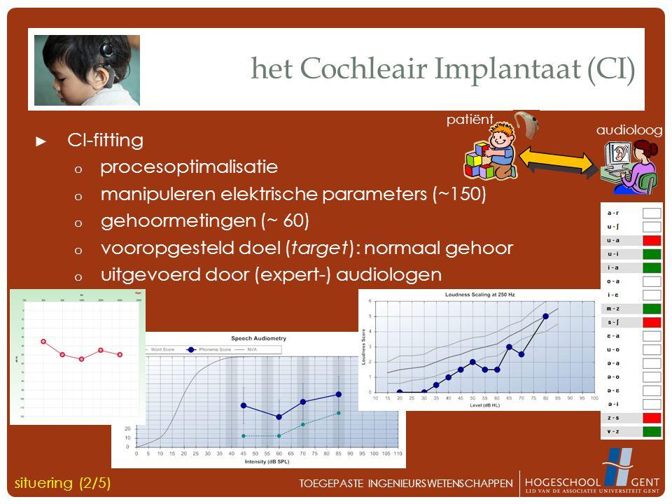 ► CI-fitting o procesoptimalisatie o manipuleren elektrische parameters (~150) o gehoormetingen (~ 60) o vooropgesteld doel (target): normaal gehoor o uitgevoerd door (expert-) audiologen het Cochleair Implantaat (CI) situering (2/5) TOEGEPASTE INGENIEURSWETENSCHAPPEN audioloog patiënt