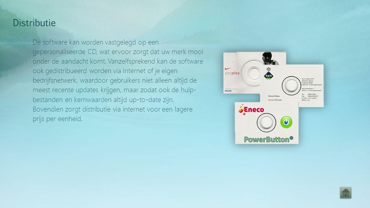 De software kan worden vastgelegd op een gepersonaliseerde CD, wat ervoor zorgt dat uw merk mooi onder de aandacht komt.