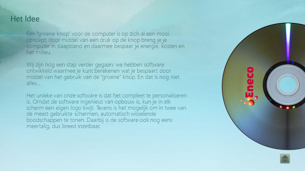 Een groene knop voor de computer is op zich al een mooi concept; door middel van een druk op de knop breng je je computer in slaapstand en daarmee bespaar je energie, kosten en het milieu.