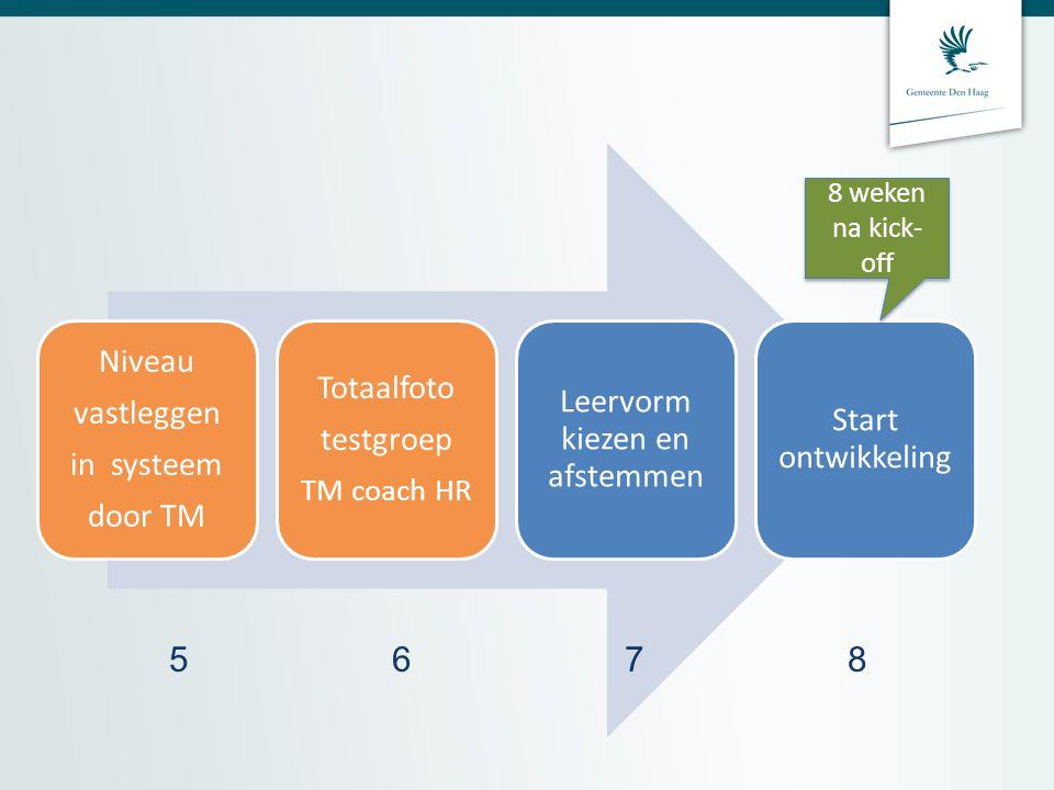 Niveau vastleggen in systeem door TM Totaalfoto testgroep TM coach HR Leervorm kiezen en afstemmen Start ontwikkeling 5 6 7 8 8 weken na kick- off
