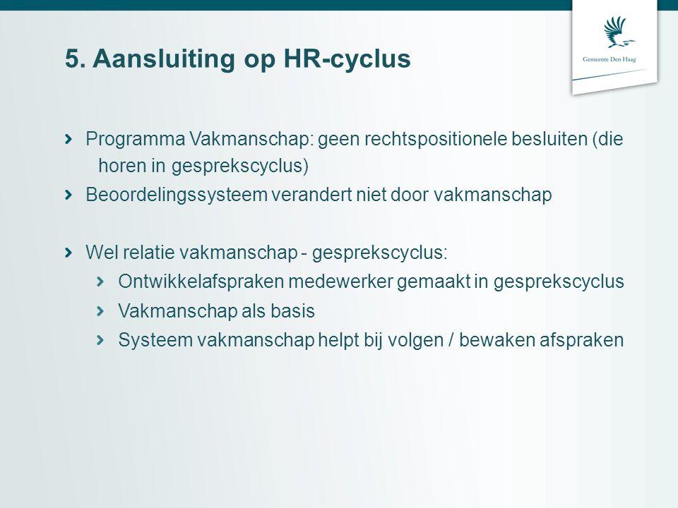 5. Aansluiting op HR-cyclus Programma Vakmanschap: geen rechtspositionele besluiten (die horen in gesprekscyclus) Beoordelingssysteem verandert niet d