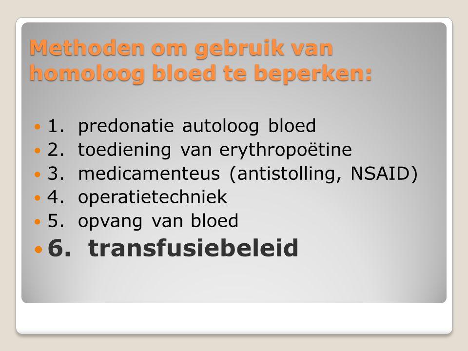 Conclusies n Chirurg blijft belangrijkste factor, ondanks chirurg is beperking van bloedtransfusies haalbaar n Cox-selectief NSAID's –18 tot 28% minder bloedverlies n Met erytropoëitine, cox selectieve NSAID's, postoperatieve cell saving: transfusies –75 tot 100% n Transfusiebeleid met Hb gehalte als enige trigger: transfusies –50%