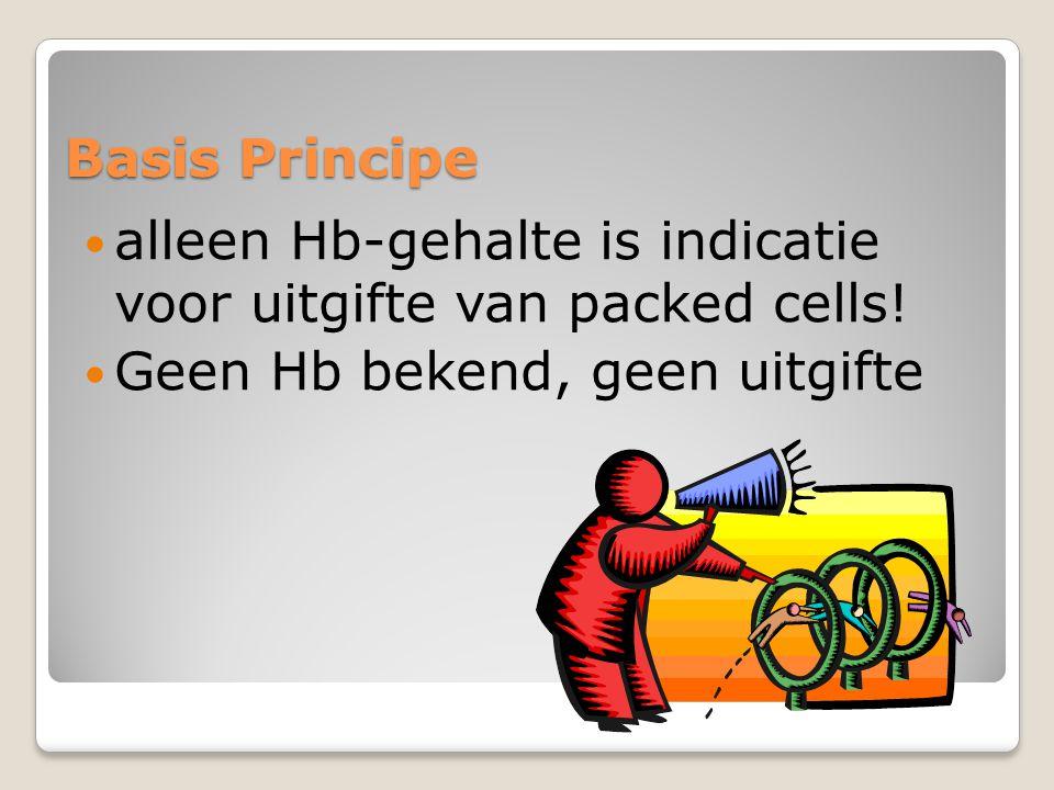 Basis Principe  alleen Hb-gehalte is indicatie voor uitgifte van packed cells.