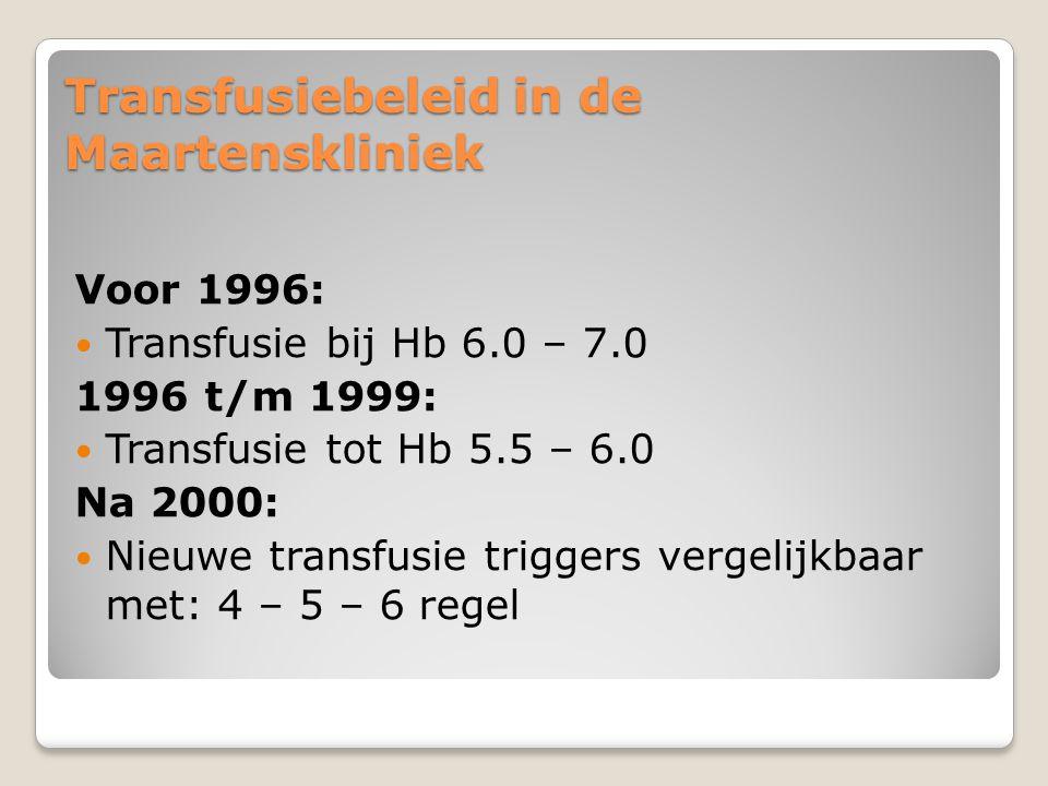 Transfusiebeleid in de Maartenskliniek Voor 1996:  Transfusie bij Hb 6.0 – 7.0 1996 t/m 1999:  Transfusie tot Hb 5.5 – 6.0 Na 2000:  Nieuwe transfusie triggers vergelijkbaar met: 4 – 5 – 6 regel