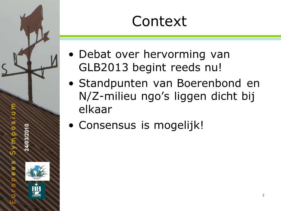 2 Context •Debat over hervorming van GLB2013 begint reeds nu.