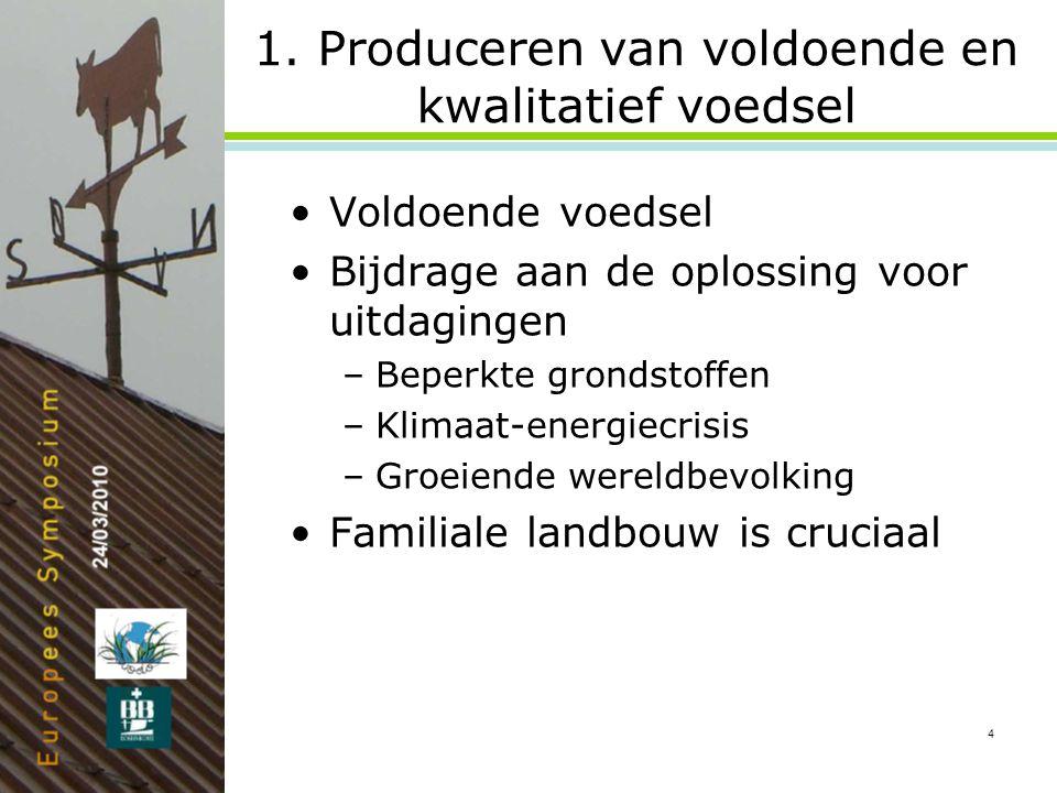 4 1. Produceren van voldoende en kwalitatief voedsel •Voldoende voedsel •Bijdrage aan de oplossing voor uitdagingen –Beperkte grondstoffen –Klimaat-en