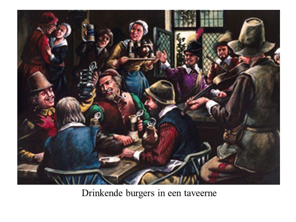 Drinkende burgers in een taveerne