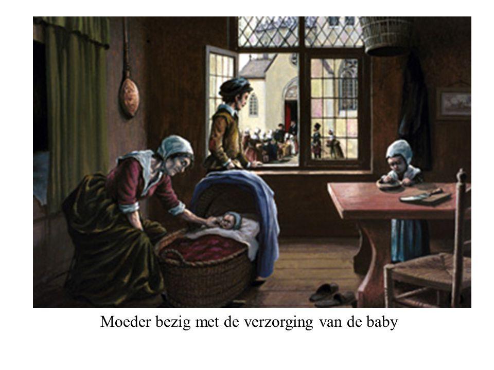 Moeder bezig met de verzorging van de baby