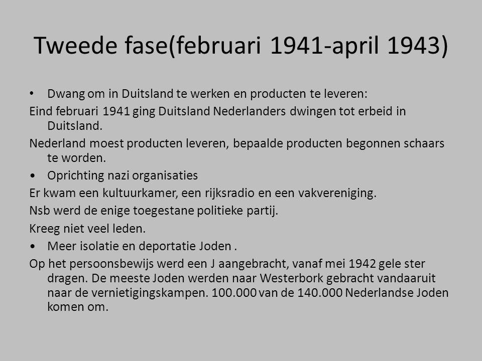 Tweede fase(februari 1941-april 1943) • Dwang om in Duitsland te werken en producten te leveren: Eind februari 1941 ging Duitsland Nederlanders dwinge