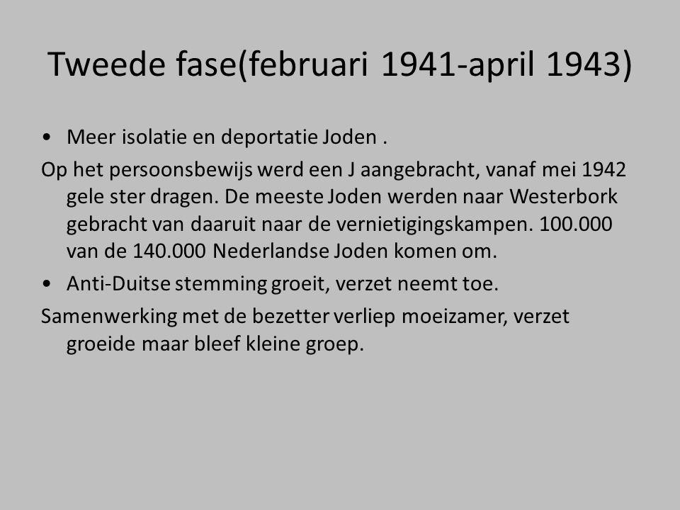 Tweede fase(februari 1941-april 1943) •Meer isolatie en deportatie Joden. Op het persoonsbewijs werd een J aangebracht, vanaf mei 1942 gele ster drage