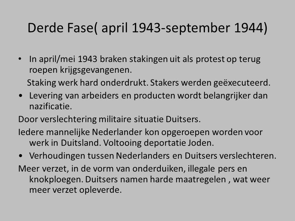 Derde Fase( april 1943-september 1944) • In april/mei 1943 braken stakingen uit als protest op terug roepen krijgsgevangenen. Staking werk hard onderd