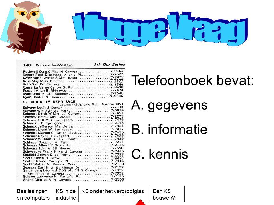 Beslissingen en computers KS in de industrie KS onder het vergrootglasEen KS bouwen? Telefoonboek bevat: A. gegevens B. informatie C. kennis