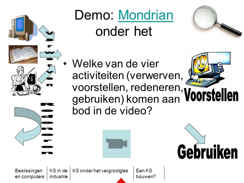 Beslissingen en computers KS in de industrie KS onder het vergrootglasEen KS bouwen? Demo: Mondrian onder hetMondrian •Welke van de vier activiteiten
