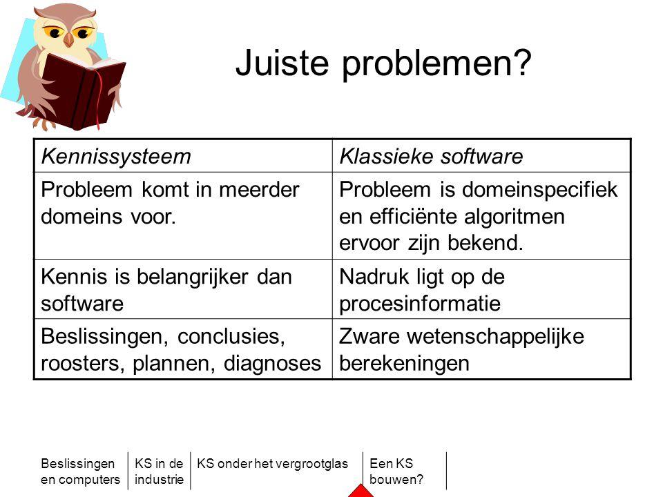 Beslissingen en computers KS in de industrie KS onder het vergrootglasEen KS bouwen? Juiste problemen? KennissysteemKlassieke software Probleem komt i